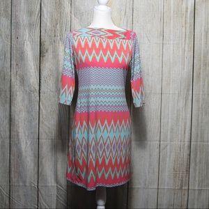 Donna Morgan Pink & Blue Chevron Shift Dress sz 6